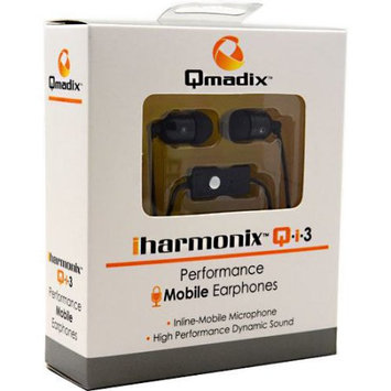 QMADIX iharmonix QI-3 3.5mm Stereo Universal Earphone Earbud Headset w/Mic Black