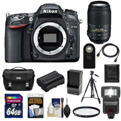Nikon D7100 Digital SLR Camera Body with 55-300mm Lens + 64GB Card + Battery & Charger + Case + Flash + Filter + Tripod + Accessory Kit