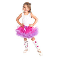 Little Adventures Fluffy Tutu Fuchsia-Light Purple w- Heart Leg Warmers