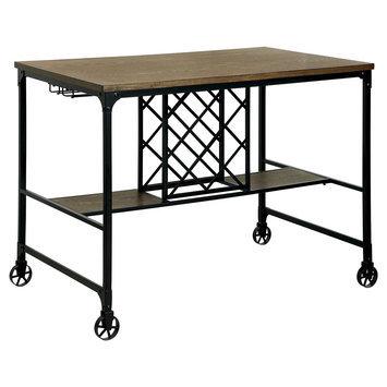 Furniture Of America Olsen Industrial Wine Rack Counter Height Table - Medium Oak, Warm Oak