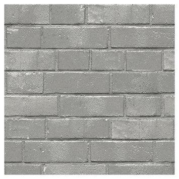 Devine Color Textured Brick Peel and Stick Wallpaper Mirage- Sample, Lt Grey