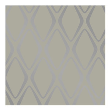 Devine Color Diamond Peel and Stick Wallpaper Mirage and Sterling- Sample, Lt Grey
