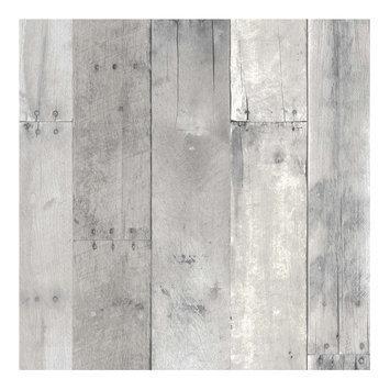 Devine Color Reclaimed Wood Peel and Stick Wallpaper Mirage- Sample, Lt Grey