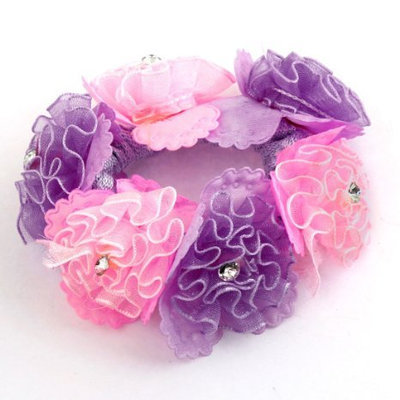 Uxcell Faux Rhinestone Flower Detail Elastic Ponytail Holder