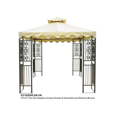 Dragon Claw Inc D.C.AMERICA 10'x10' Two Tier Steel frame Gazebo, Beige Top with Brown Edge and 8 Grommets - DRAGON CLAW INC