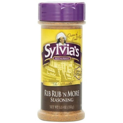Sylvia's Rib Rub 'N More Seasoning, 5.5-Ounce Containers (Pack of 12)