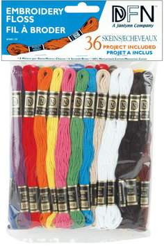 Janlynn Cotton Embroidery Floss, Primary Colors, 36/pkg