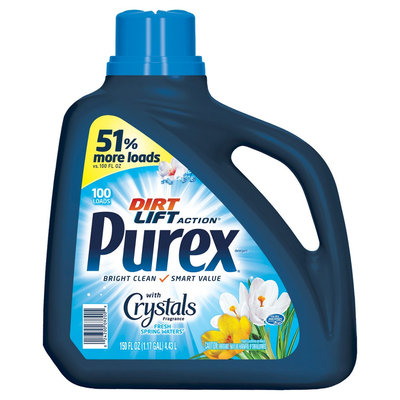 Purex Liquid Detergent with Crystals Fragrance Fresh Spring Waters, 150oz