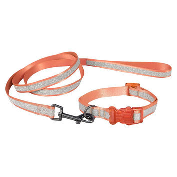 Bow & Arrow Glitter Collar & Leash Set - Coral (XS)