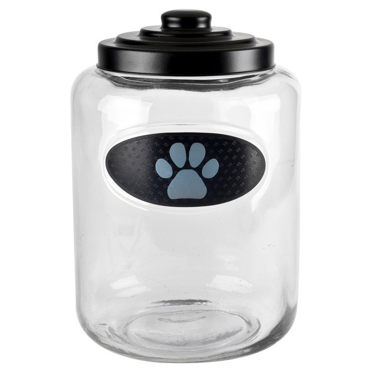 Housewares International Akc Embossed Paw Treat Jar - Clear/Black/Gray (176 Oz) (7x7x11)
