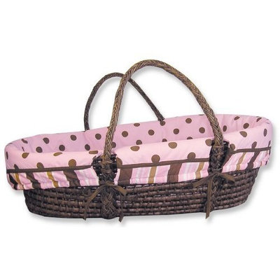 Trend Lab Maya Moses Basket Set - Sage Basket with Maya Pink, Brown Polka Dot Wrap Style Bumper and Pink Mattress Cover Sheet