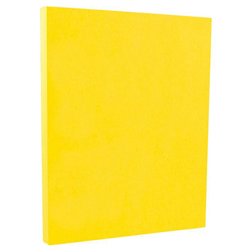 Jam Paper & Envelope 8 1/2 x 11 Brite Hue Yellow Recycled 65lb Cover Cardstock - Pack of 50