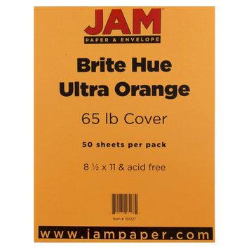 Jam Paper & Envelope 8 1/2 x 11 Brite Hue Ultra Orange 65lb Cover Cardstock - Pack of 50