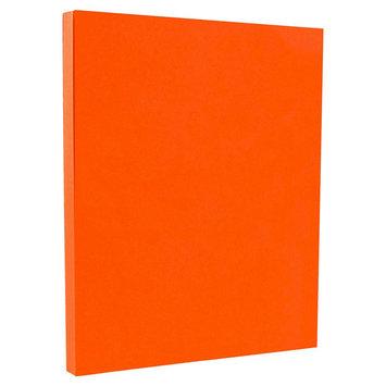 Jam Paper & Envelope 8 1/2 x 11 Brite Hue Orange Recycled 65lb Cover Cardstock - Pack of 50