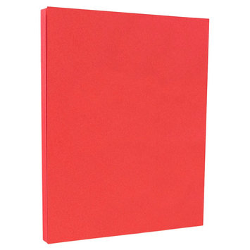 Jam Paper & Envelope 8 1/2 x 11 Brite Hue Red Recycled 65lb Cover Cardstock - Pack of 50