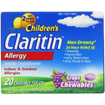 Chilrden's Claritin Allergy Non Drowsy Formula Grape Flavored Chewable Tablets (Pack of 40)