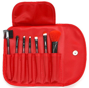 PuTwo Make up Brushes 7 Pcs Makeup Brush Set Travel Essential Cosmetic Makeup kit with Pouch Bag - Red