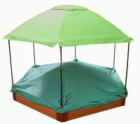 Frame-it-all Frame It All Hexagonal Sandbox 7ft. x 8ft. x 12in. with Composite Wood Grain Timbers and canopy and cover