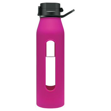 Takeya Fuchsia Flip-Cap 22-Oz. Glass Water Bottle