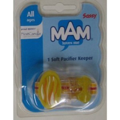 Sassy Mam Soft Pacifier Keeper, All Ages. Yellow Binky Holder.
