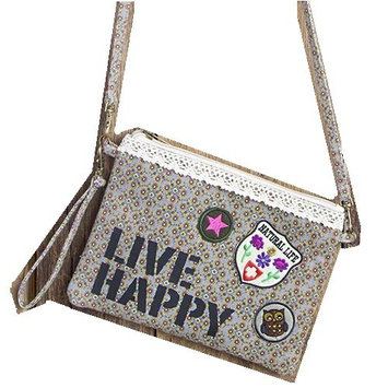 Natural Life Patch Cross Body Wrist Bag