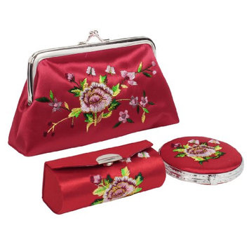 Uxcell 3-in-1 Flower Embroidered Wallet Lipstick Holder Case