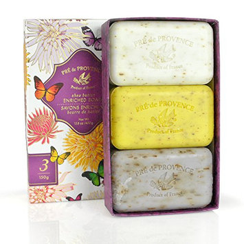Pre De Provence Assorted Shea Butter Enriched Guest Soap Gift Set in Box - Includes Three 150 Gram Soaps - Includes 1 Lavender