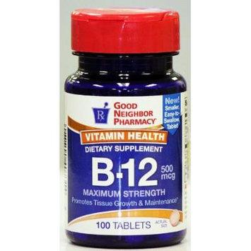 GNP Vitamin Health B-12 Dietary Supplement (100 tablets, 500 mcg)