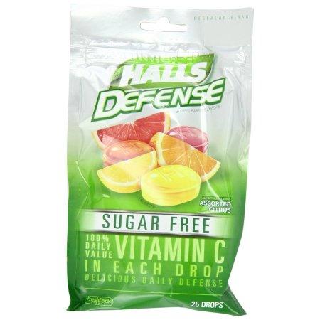 HALLS Defense Assorted Citrus Sugar Free Vitamin C Supplement Drops