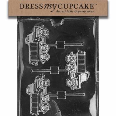 Dress My Cupcake DMCJ070SET Chocolate Candy Mold, Dump Truck Lollipop, Set of 6
