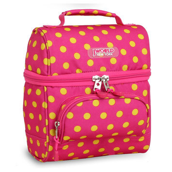 J World New York Corey Lunch Bag Pink Buttons - J World New York Travel Coolers