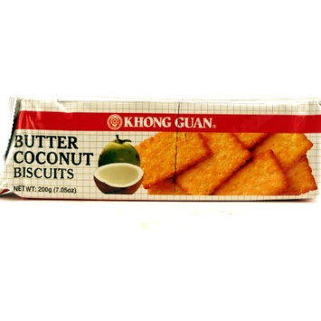 DragonMall Cookies Khong Guan Biscuits (Butter Coconut) - 7.05oz (Pack of 1)