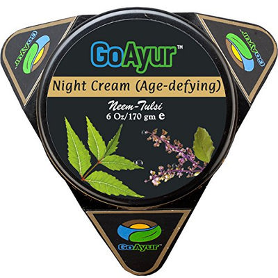 GoAyur Neem Tulsi Age Defying Ayurvedic Night Cream Natural Anti-Aging & Instant Hydration Herbal Anti-Wrinkle Night Cream