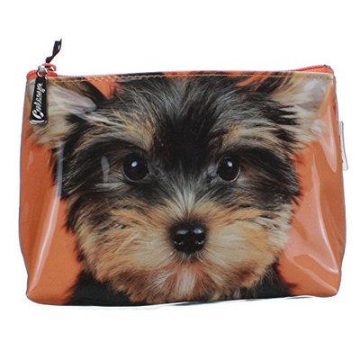 Catseye Yorkie On Orange Cosmetic Wash Bag