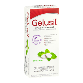 Gelusil Antacid & Anti Gas Chewable Tablets Cool Mint - 20 CT