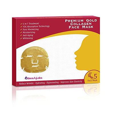 24K Premium Gold Collagen Beauty Face Mask for Anti Aging 10X Absorption for Professional Skin Care