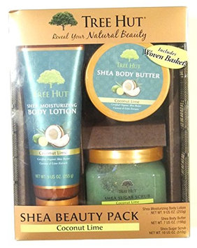 Tree Hut Coconut Lime Shea Beauty Pack with Woven Gift Basket