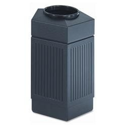 Safco Canmeleon Indoor/Outdoor Receptacle, Pentagon, Polyethylene, 30 gal, Black