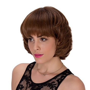 Probeauty Neck Length Young Women Flat Bangs Wavy Synthetic Hair Party Wig