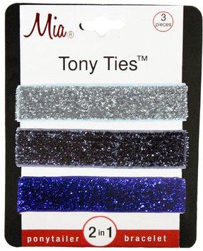 Mia Tony Hair Ties Gunmetal Glitter