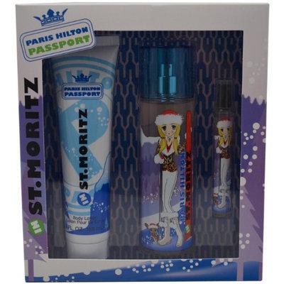 Paris Hilton Passport St.Moritz for Women Gift Set (Eau de Toilette Spray 3.4 Ounce