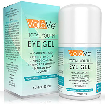 VoilaVe Total Youth Under Eye Gel Anti-Aging Eye Cream withHyaluronic Acid and Cucumber