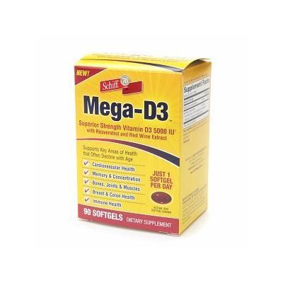 Schiff Mega-D3 5000 IU, Softgels 90 ea