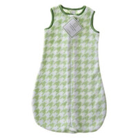 SwaddleDesigns Swaddle Designs Fuzzy zzZipMe Sack - Kiwi Puppytooth/Pure Green Trim