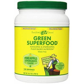 Amazing Grass Green Superfood Multivitamin Pineapple Lemongrass, 100 Servings, 24.7 Ounces