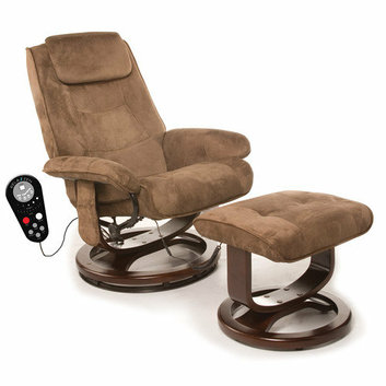 Comfort Products Leisure Faux Suede Reclining Heated Massage Chair with Ottoman