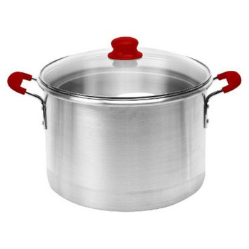 IMUSA 12 Qt Stock Pot with Red Silicone Handles