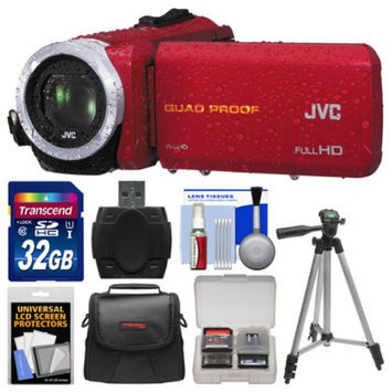 JVC Everio GZ-R10 Quad Proof Full HD Digital Video Camera Camcorder (Red) with 32GB Card + Case + Tripod + Accessory Kit