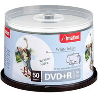TDK DVD+R Discs, 4.7GB, 16x, Spindle, White, 50/Pack