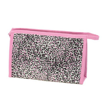 Uxcell Rectangle Leopard Pattern Zipper Cosmetics Bag W Mirror